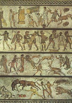 Mozaika ukazująca rzymskie widowiska z I wieku n.e.