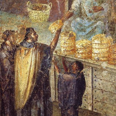 Wall painting from Pompeii showing the purchase of bread