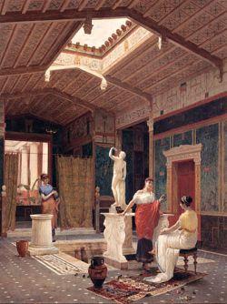 Wyobrażenie wnętrza domus w Pompejach według XIX-wiecznego artysty