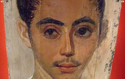 Portrait of a young man from Roman Egypt after eye surgery