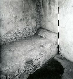 Bed in the Roman brothel in Pompeii
