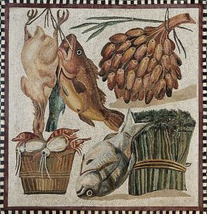 Mozaika z I wieku n.e. ukazująca drób, ryby, figi, szparagi i owoce morza
