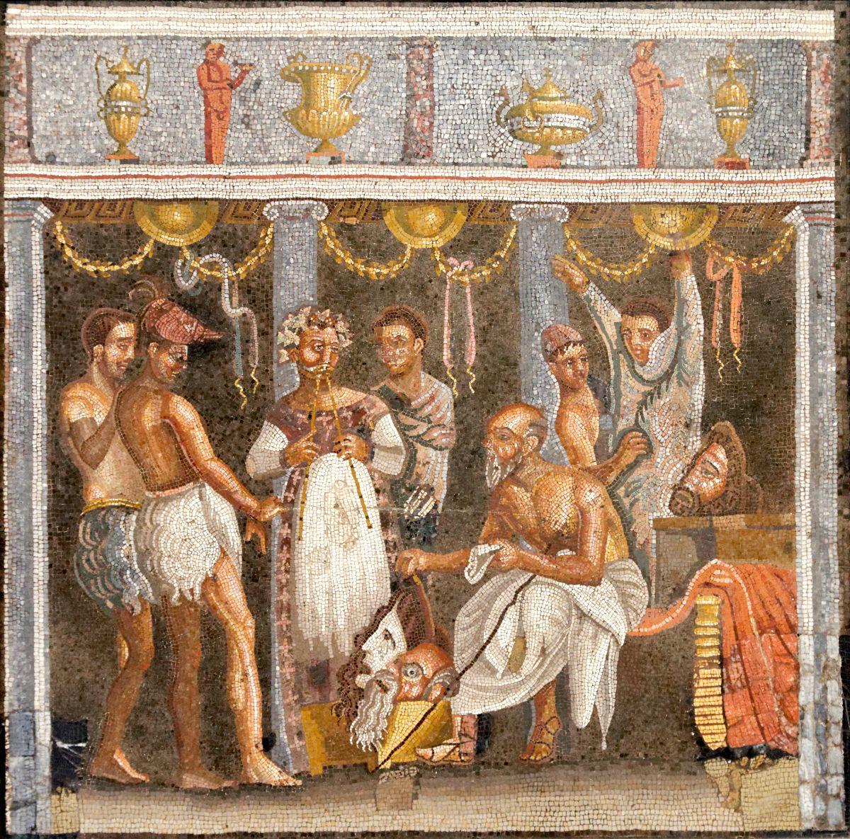 Mozaika ukazująca grupę teatralną przygotowującą się do występu