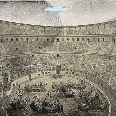 Rycina ukazująca inscenizację bitwy morskiej w amfiteatrze