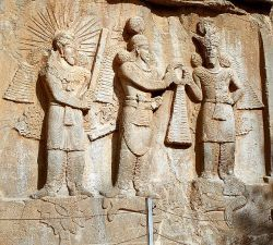 Shapur II with the gods Mithra and Ahuramazda - relief.