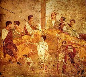 Malunek ścienny z I wieku n.e., z Pompejów, przedstawiający wielopokoleniowy bankiet