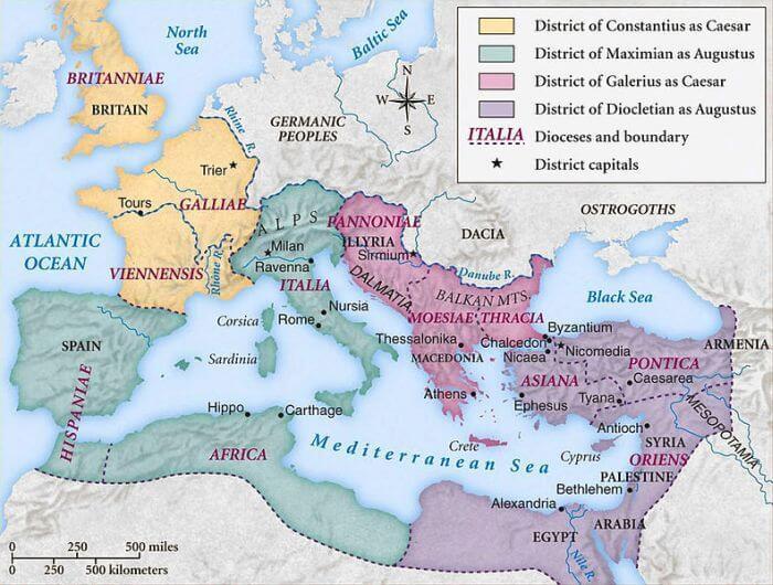 Mapa ukazująca podział Imperium Rzymskiego za wprowadzonego systemu tetrarchii