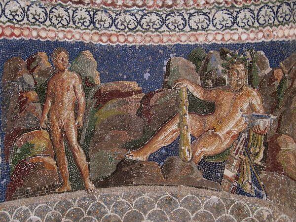 Herkules i Jolaos - mozaika na fontannie Anzio Nymphaeum w Rzymie