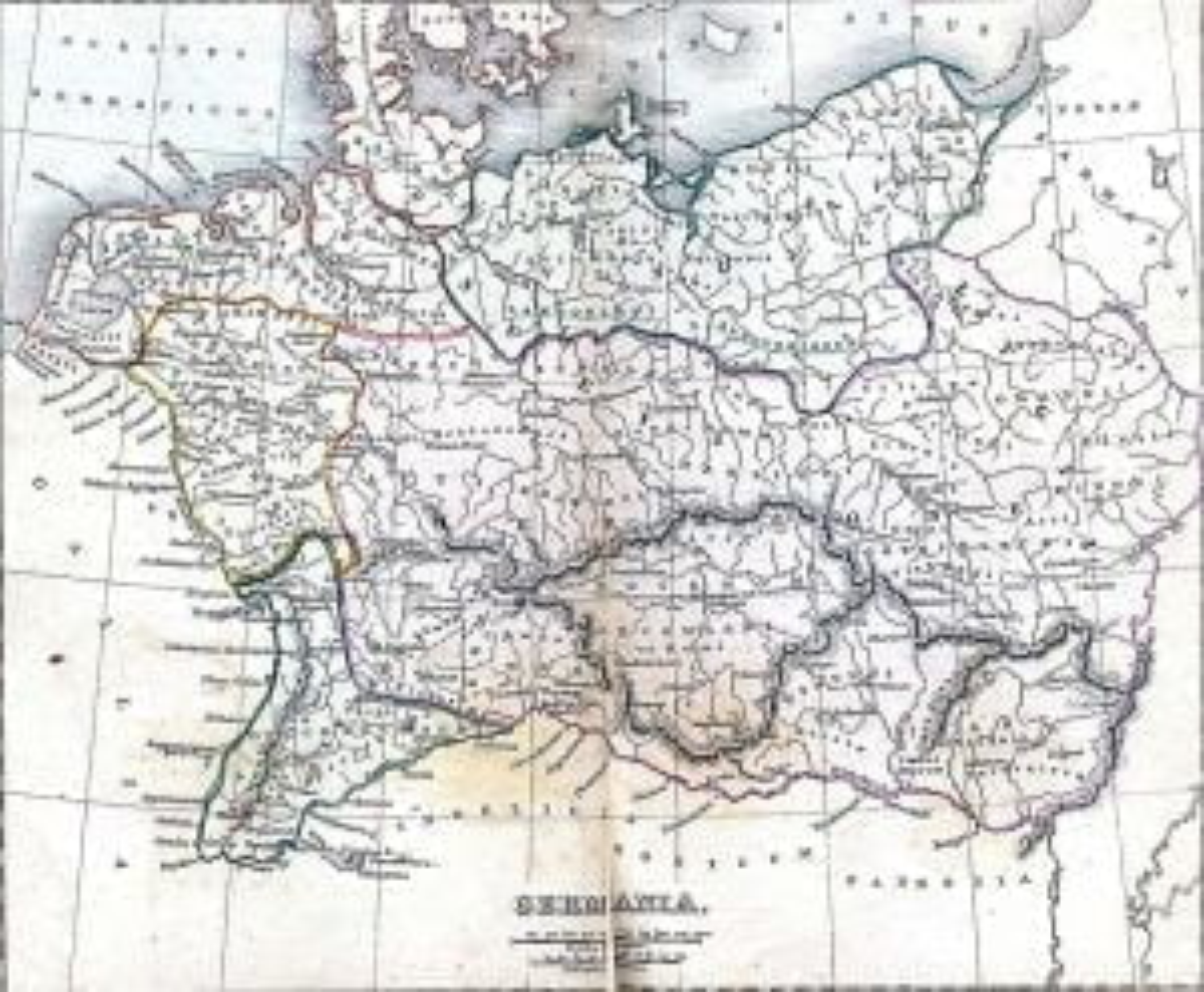 Mapa starożytnej Germanii stworzona w 1849 roku