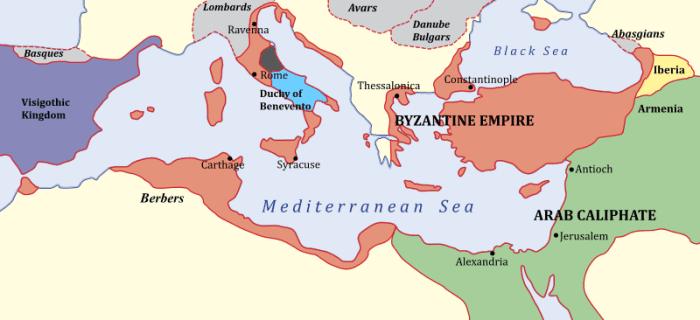 Mapa Bizancjum pod rządami dynastii heraklijskiej (rok 650)