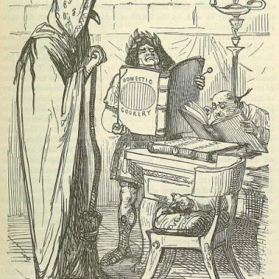 Zakup ksiąg sybillińskich na XIX-wiecznej ilustracji Johna Leecha z Comic History of Rome
