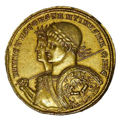 Coin from 313 CE, showing Constantine company of the solar deity