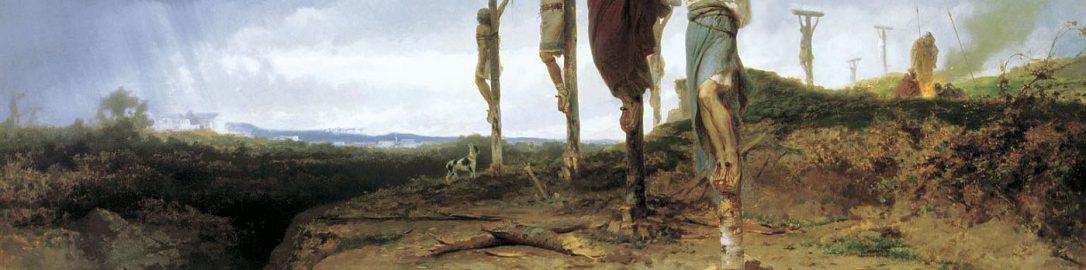 Obraz Fiodora Bronnikova ukazujący ukrzyżowanych powstańców wzdłuż drogi appijskiej z Rzymu do Kapui