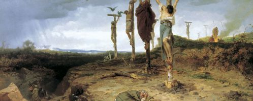 A painting by Fyodor Bronnikov showing the crucified insurgents along the Appian road from Rome to Capua
