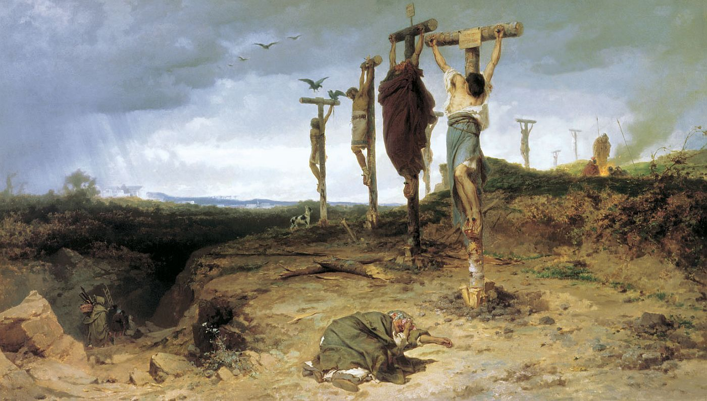 A painting by Fiodor Bronnikov showing crucified insurgents along Via Appia from Rome to Capua.