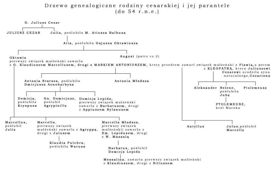 Drzewo genealogiczne rodziny cesarskiej (dynastia julijska)