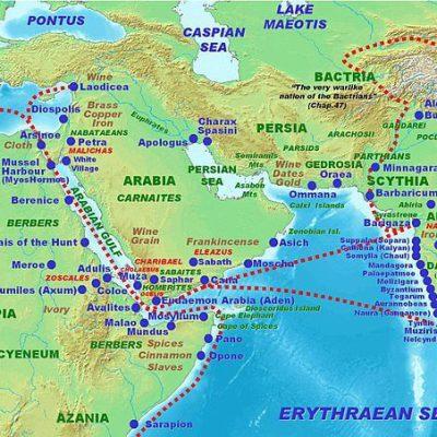 Mapa ukazująca drogę handlową między Rzymem a Indiami