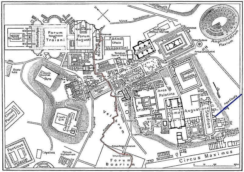 Cloaca Maxima zaznaczona na mapie Cesarstwa Rzymskiego na czerwono