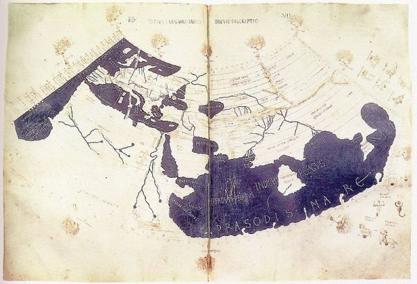 A fifteenth-century copy of the manuscript of the world map of Ptolemy, reproduced from the work: Geography