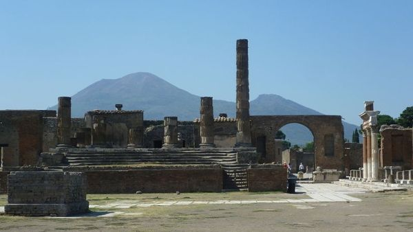 The Temple of Jupiter with Vesuvius in the background