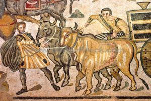 Mozaika ukazująca bydło w czasie pracy