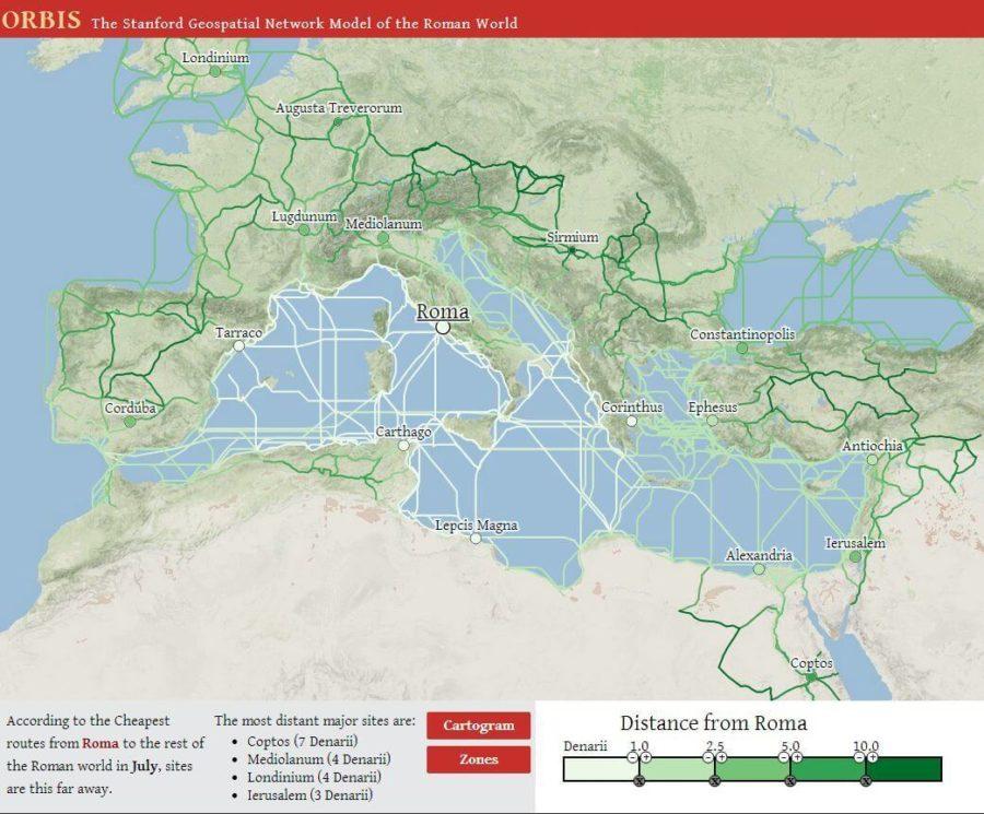 Mapa kosztów podróży w czasach Imperium Rzymskiego