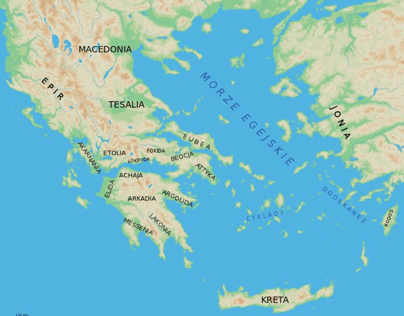 Ważniejsze krainy historyczne starożytnej Grecji