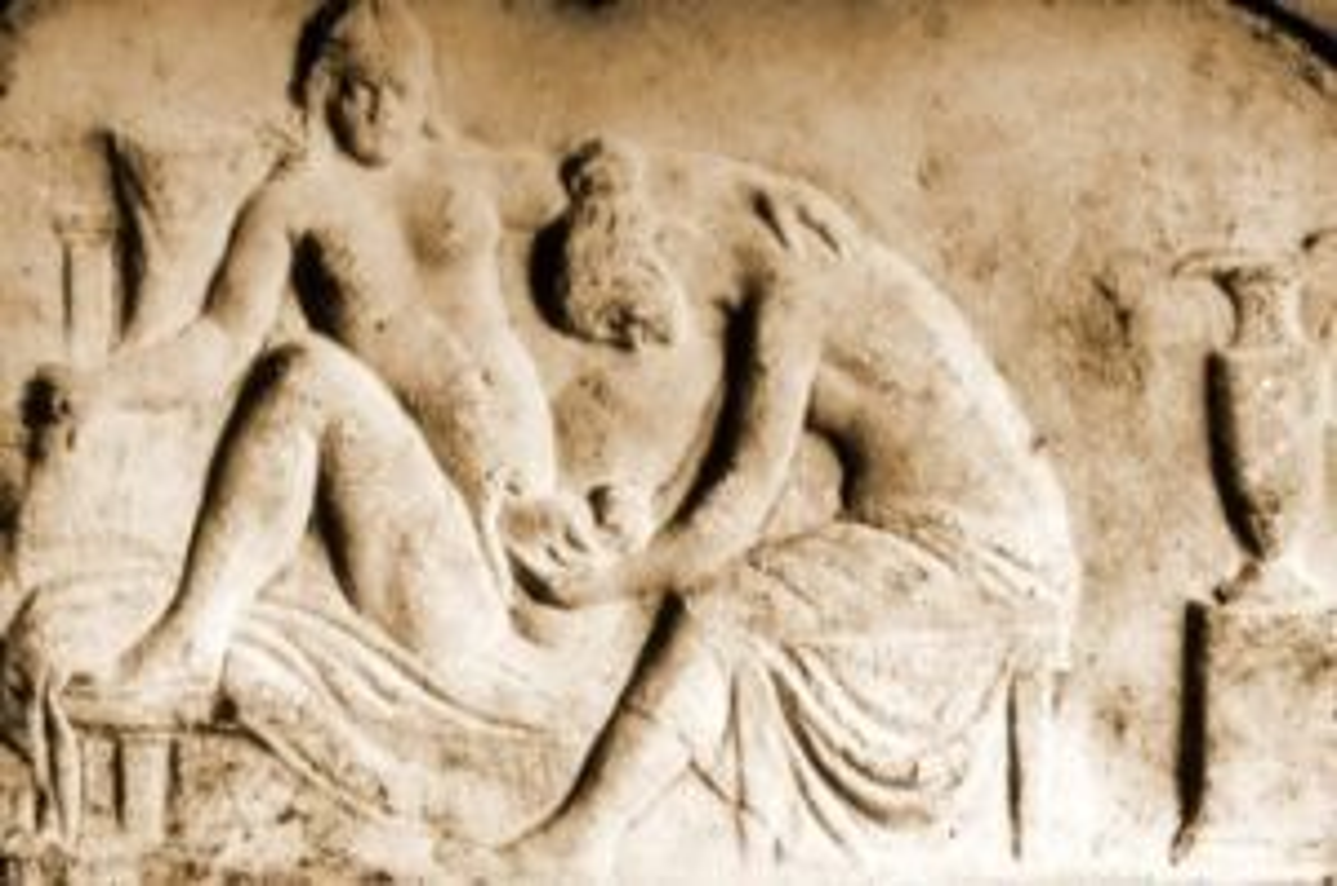 Poród przedstawiony na płaskorzeźbie