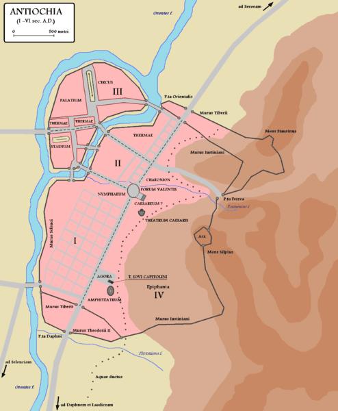 Mapa Antiochii w czasach rzymskich