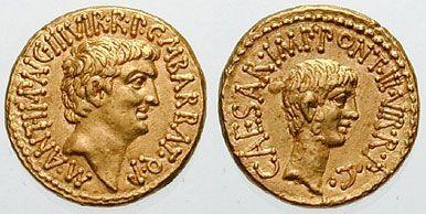 Rzymski aureus przedstawiający Antoniusza