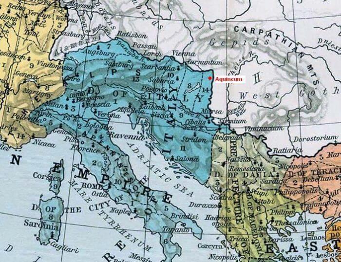 Położenie miasta rzymskiego Aquincum w Pannonii na mapie Imperium Rzymskiego