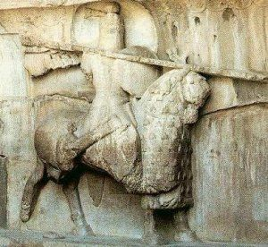 A sculpture from Iran showing a cataphract rider of the Sassanid Empire