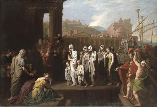 Agrypina przybija do brzegu w Brundyzjum z prochami Germanika, Benjamin West