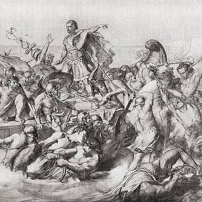 Wizja inwazji Rzymian, pod przywództwem Cezara, na Brytanię