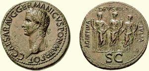 Sestercja Kaliguli z około 38 roku n.e.