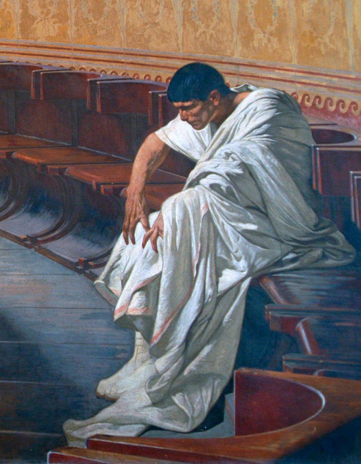 Sylwetka przygnębionego i zmartwionego Katyliny na obrazie Cyceron demaskujący Katylinę, autorstwa Cesare Maccari