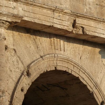 Still visible inscription above the entrance to Colsseum.