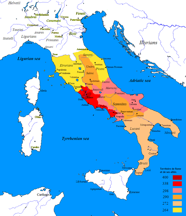 Map showing Rome's territorial acquisitions after the war