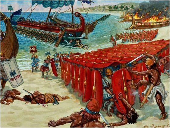Ilustracja ukazująca walkę z piratami na nabrzeżu