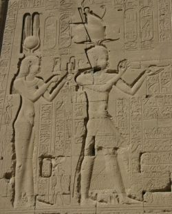 Relief on the wall of the temple in Dendera, Egypt