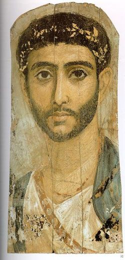 Portret fajumski wykonany na drewnie