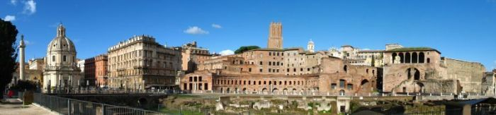 Panorama depicting the Trajan forum and the Trajan column, which is far to the left