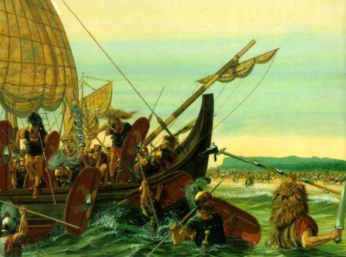 Ilustracja ukazująca lądowanie rzymskich wojsk na plaży w Brytanii