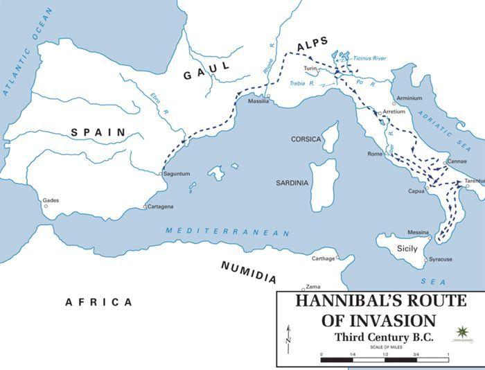 Trasa jaką pokonał Hannibal, aby móc przeprowadzić inwazję na Italię