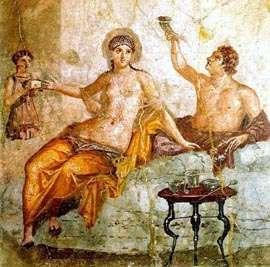 Feaster and prostitute (fresco in Herculaneum)