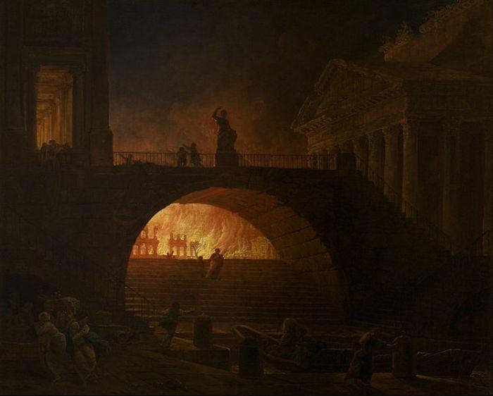 Obraz ukazujący wielki pożar w Rzymie w 64 roku n.e.