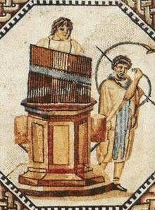 Hydraulis i cornu na mozaice