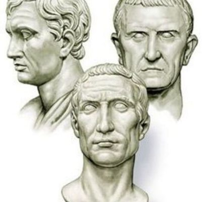 Three influential politicians: Pompey, Crassus and Caesar