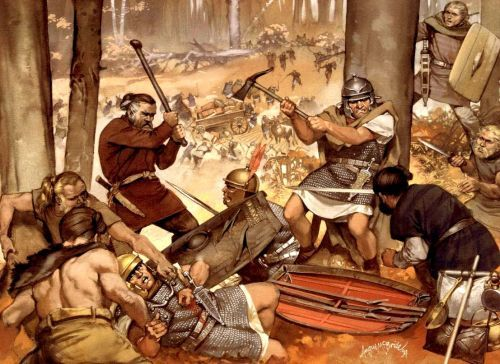 Visualization of the defeat of the Roman army in the Teutoburg forest
