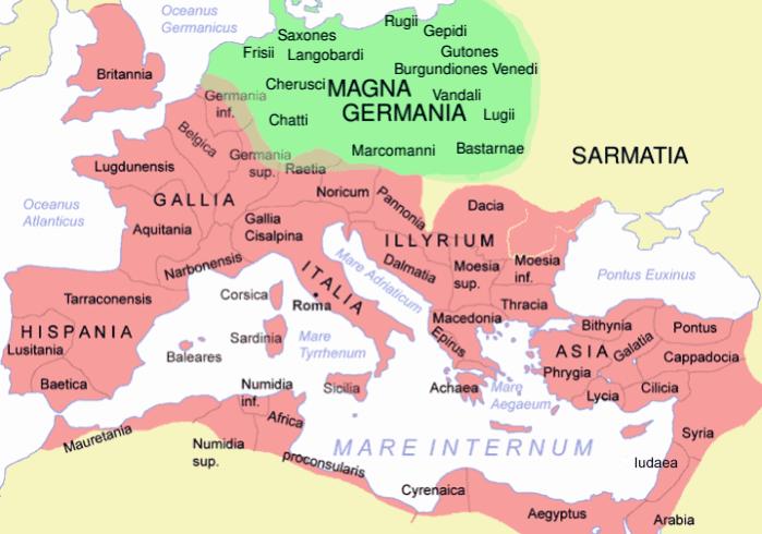 Mapa Cesarstwa rzymskiego i Germanii w II wieku n.e.